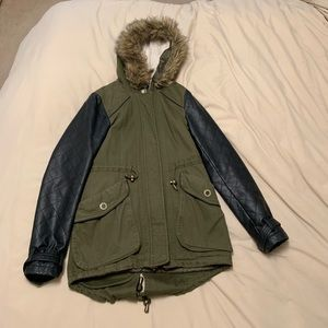 Bar III army green coat with faux leather sleeves